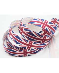 5M x 15mm Classical British flag/Union Jack Grosgrain ribbon - Navy blue/Red