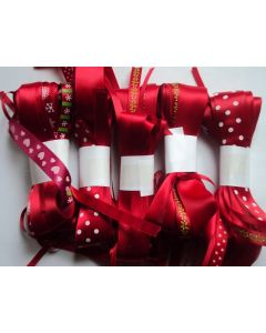 10M Shade of Red Ribbon cut off bundle - assorted  size, design, material & print
