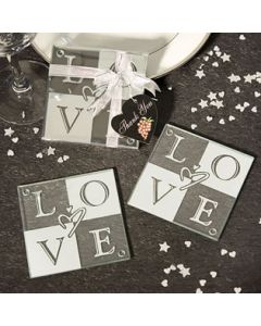 Glass love coaster (Pack of 10)