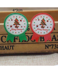 JEMPAK UK® 60 pieces Merry Christmas round sticky labels with bow tails (4cm x 3cm)