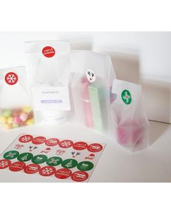 "Pack of 20 large clear frosted block bottom sweet/party/ gift bags (4"" x 2 1/2"" x 9 3/4"") with assorted printed Xmas symbols sticky labels"