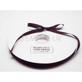 5M x 10mm Double face satin ribbon - Chocolate Brown