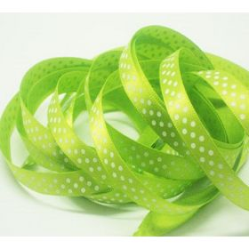 5M x 10mm Single face satin micro polka dot ribbon - white on Lime green