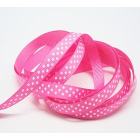 5M x 10mm grosgrain micro polka dot ribbon - white on pink