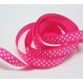 5M x 10mm Single face satin micro polka dot ribbon - white on Shocking Pink