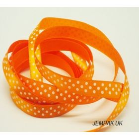 5M x 10mm Single face satin micro polka dot ribbon - white on Tangerine