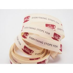 4M x15mm Everyone stops for tea ribbon (Natural rustic taffeta style material)