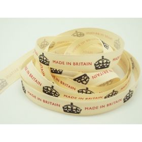 4M x15mm Made in British ribbon (Natural rustic taffeta style material)
