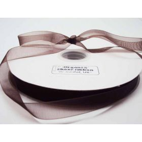 5M x 15mm Organza sheer ribbon - Chocolate Brown