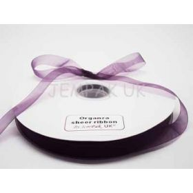 5M x 10mm Organza sheer ribbon - Purple