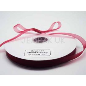 5M x 10mm Organza Sheer ribbon - Red