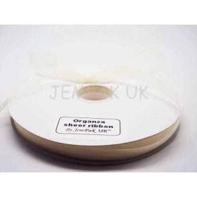 5M x 10mm Organza Sheer ribbon - Antique white (Ivory)