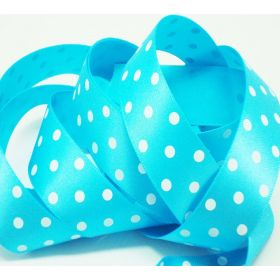 5M x 22mm Single face satin micro polka dot ribbon - white on Turquoise blue