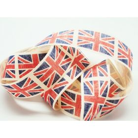 4M x 25mm Vintage British flag ribbon - Blue (Natural rustic taffeta style material)