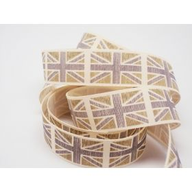 4M x 25mm Vintage British flag ribbon - Green (Natural rustic taffeta style material)