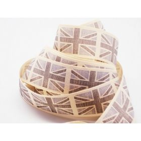 4M x 25mm Vintage British flag ribbon - Grey (Natural rustic taffeta style material)