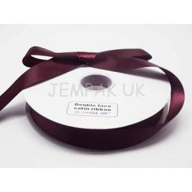 5M x 25mm Double face satin ribbon - Burgundy
