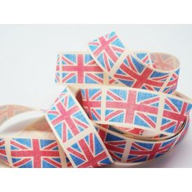 4M x 25mm Vintage British flag ribbon - Light Blue (Natural rustic taffeta style material)