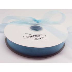 5M x 25mm Sheer organza  ribbon - Baby blue