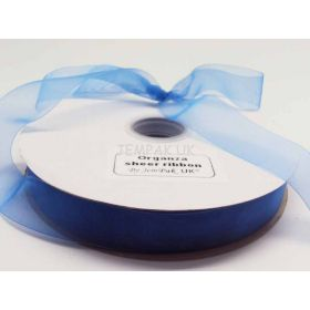 5M x 25mm Organza sheer ribbon - BRILLIANT blue
