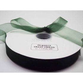 5M x 25mm Sheer organza  ribbon - Forest green