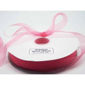 5M x 25mm Organza sheer ribbon - Pink