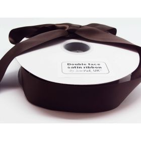 5M x 38mm Double face satin ribbon - Chocolate Brown