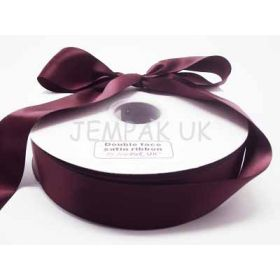 5M x 38mm Double face satin ribbon - Burgundy