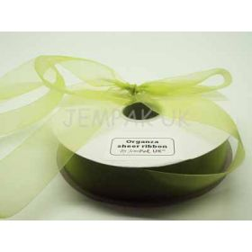 5M x 38mm Sheer ribbon - Apple green