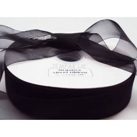 5M x 38mm Organza sheer ribbon - Black