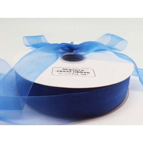 5M x 38mm Sheer organza  ribbon - Brilliant blue