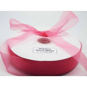 5M x 38mm Sheer organza  ribbon - Pink