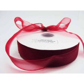5M x 38mm Sheer ribbon - Red