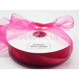 5M x 38mm Organza sheer ribbon - Shocking Pink