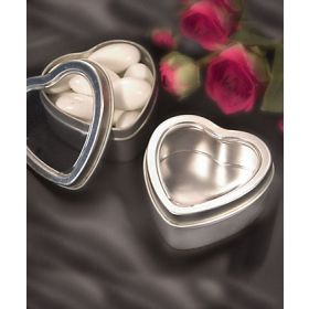 Pack of 10 Matte silver heart mint tin (55mm dia x 25mm height)