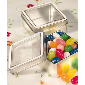 Pack of 10 Matt silver square mint tin (55mm x 55mm x 25mm)