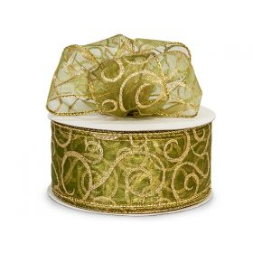 3M x 64mm Wire Edge Green sheer with Gold swirl Xmas ribbon