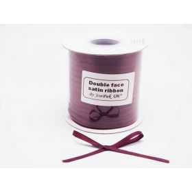 5M x 5mm Double face satin ribbon - Wine