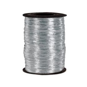 91.4M Shiny pearlised  Raffia ribbon - Silver