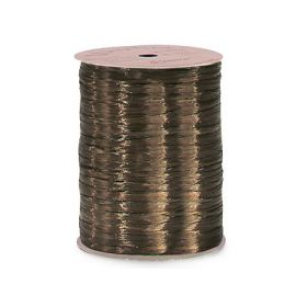 91.4M Shiny pearlised Raffia ribbon - Chocolate
