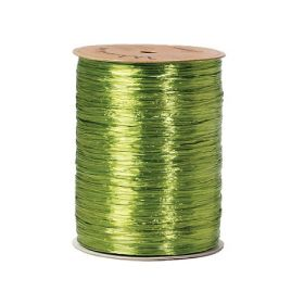91.4M Shiny pearlised Raffia ribbon - Jungle green