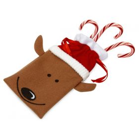 Pack of 2 Reindeer felt bag with satin drawstring cord: Xmas favour bag (11cm x 22cm)