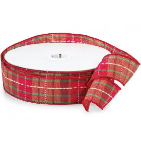 3M x 38mm Holiday Plaid Wired Ribbon - Red & Green