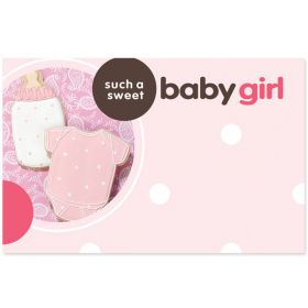"""Pack of 10 """"Such a Sweet Baby Girl"""" mini enclosure gift cards (9cm x 6cm)"""