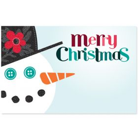 """Pack of 10 """"Merry Christmas"""" Snowman mini enclosure gift cards (9cm x 6cm)"""