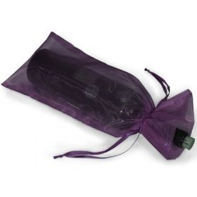 "Pack of 10 Purple organza wine bags (6.5"" x 15"") with satin drawstring cord"