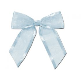 "1½"" Pre-Tied Organza Sheer Bows with satin edge - Baby blue (Pack of 12)"