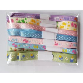Mixed Baby Ribbon Off Cut Bundle - Contains 10 Different 1 Metre Cut Baby Print Ribbon in Assorted Designs and Colours