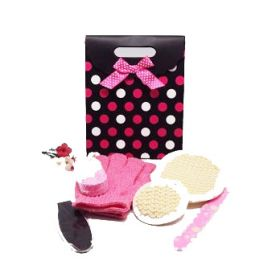 6 piece exfoliating beauty set in a pink polka dot tab top box gift bag (exfoliating gloves, pumice stone, emery board, foot file and facial & body  sisal pads)