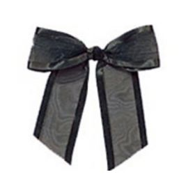 "1½"" Pre-Tied Organza Sheer Bows with satin edge - Black (Pack of 12)"